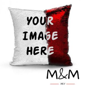 Калъфка за възглавница с пайети и снимка